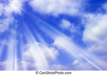sun rays - blue sky with sun rays