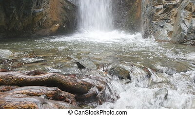 Waterfall on mountain river in Cyprus