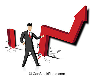 business breakthrough - Businessman with up rise arrow sign...