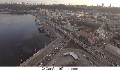 Flying over the river in the city. Kiev, Ukraine. - Flying...