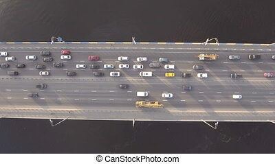 Flying Over Road Bridge Across The Dnieper River. Ukraine....