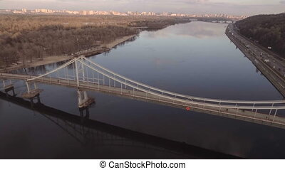 Flying over the river in the city. Kiev, Ukraine. - Flying...