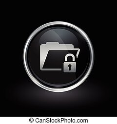 Padlock and folder icon inside round silver and black emblem...