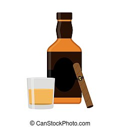 Glass of rum, cigar, whiskey. Premium alcohol, tobacco. Flat sty