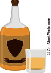 Rum bottle with glass, shot. Alcohol drink flat style design. Ve