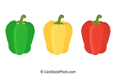Set of red, yellow, green sweet bell pepper. Flat style. -...
