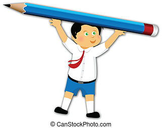 education stationery - School children with stationery