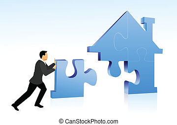 home loan - Businessman arranging jigsaw puzzle pieces to...