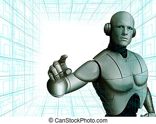 futuristic human - Robot pointing with futuristic background...