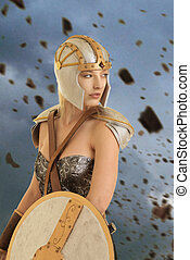 female warrior with explosion of rocks - female warrior with...