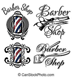 Set of retro barber shop logo. Isolated on the white...