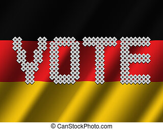 Vote text of votes on rippled German flag illustration