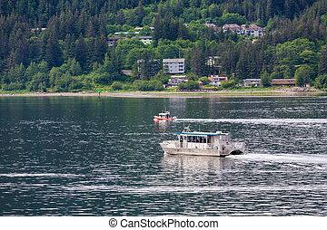 Sitka Ferry in Juneau - Sitka Ferry crossing channel in...