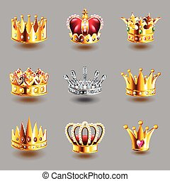 Crowns icons vector set