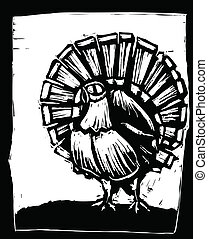 Turkey - American wild turkey in woodcut style