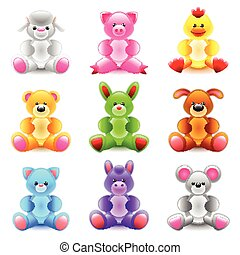 Soft toys icons vector set - Soft toys icons detailed photo...
