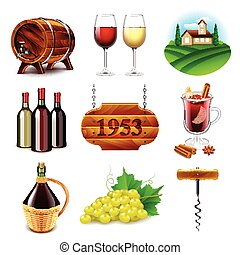 Wine and winemaking icons vector set - Wine and winemaking...