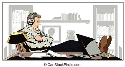 Businessman sitting at workplace and sleeping with headphones