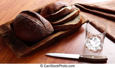 Natural bread and milk in glass - Fresh natural bread and...