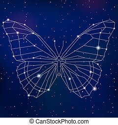 Abstract geometric polygonal cosmic butterfly vecto...