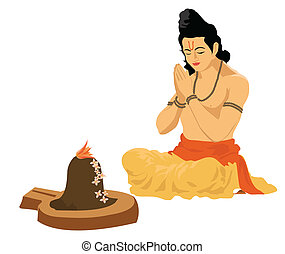 religious prayers - Sadhu praying in front of Shivling