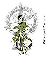 indian dance performer - Woman performing Bharatnatyam the...