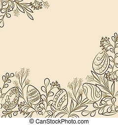 Easter plants frame - Easter frame with easter eggs and...