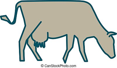 Line silhouette of Standing Cow