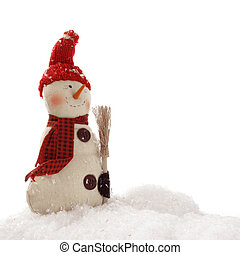 Let it snow - Happy snowman with a carrot nose and broom...