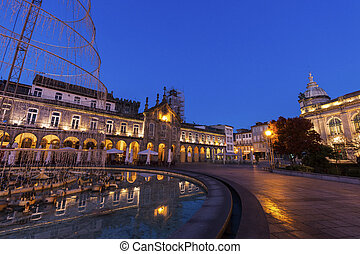 Arcada on Plaza de la Republica in Braga at dawn. Braga,...
