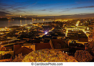 Panorama of Lisbon at sunset. Lisbon, Portugal.