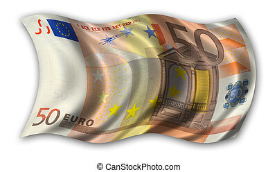 Fifty Euro Flag - waving in the wind (clipping path...