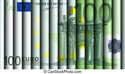 Hundred Euro bill - hundred Euro bills rolled and aligned to...