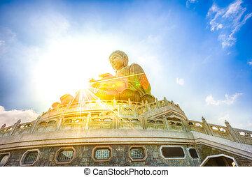 Big Buddha Lantau - Scenic Tian Tan Buddha or Big Buddha, a...