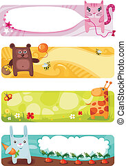 cute animal card set - vector illustration of a cute animal...