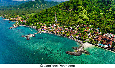 Aerial view of the beautiful bay in Candidasa Beach