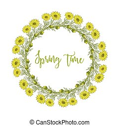 Spring wreath with pheasant s eye flowers. Vector...