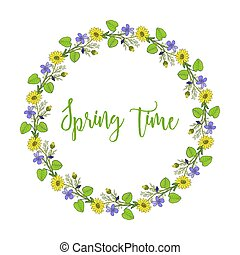 Spring wreath with violet and pheasant s eye flowers. Vector...