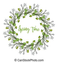 Spring wreath with wood sorrel flowers. Vector illustration