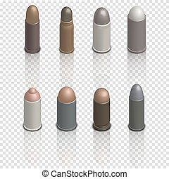 Set of photorealistic cartridges with a bullet isometric, vector illustration.