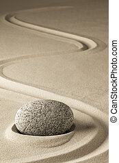 zen meditation stone and sand, a spiritual japanese rock...