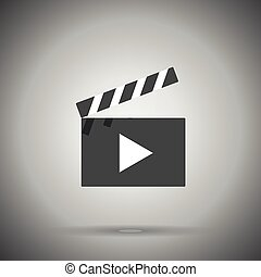 clap film board icon - clap film board icon isolated with...