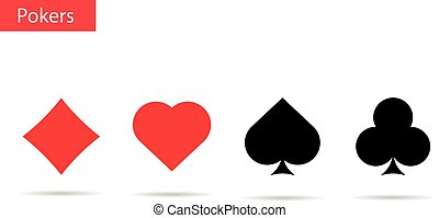 Playing cards symbols . Pokers