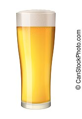 Vector beer glass on white. - Cold beer in tall glass....