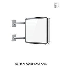 Realistic vector light box template on white background