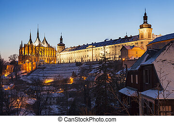 Former Jesuit College and St. Barbara's Church in Kutna...