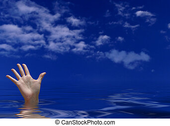 Drowning - female hand sticking out of water, trying to...