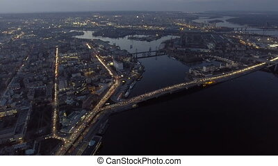 Aerial view of night city Kiev (Kyiv), Ukraine. - Aerial...