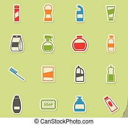 Houshold chemicals icons set - Houshold chemicals silhouette...
