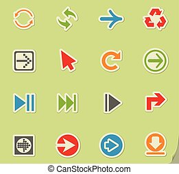arrow icon set - arrow web icons on color paper stickers for...